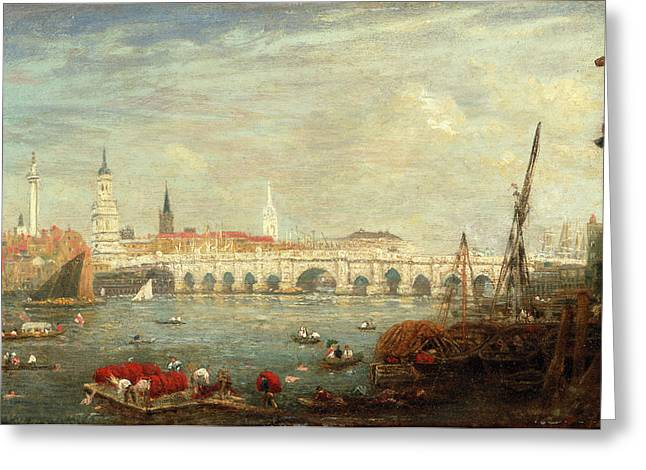 The Monument And London Bridge, London Frederick Nash Greeting Card by Litz Collection