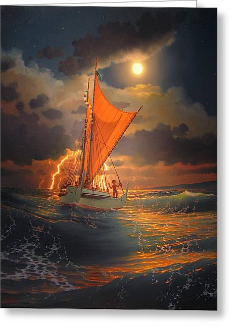 The Mo'okiha O Pi'ilani Sailing In Front Of The Storm In The Moonlight Greeting Card by Loren Adams