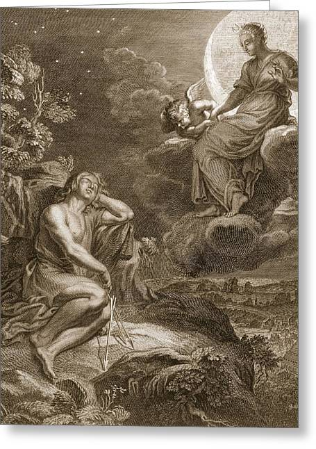 The Moon And Endymion, 1731 Greeting Card by Bernard Picart