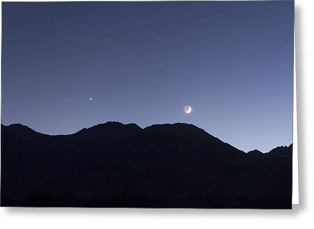 The Moon And Venus Over The Sierras Greeting Card