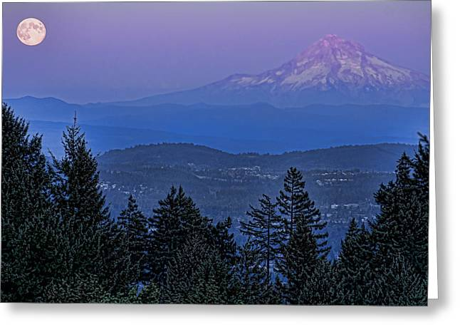 The Moon Beside Mt. Hood Greeting Card