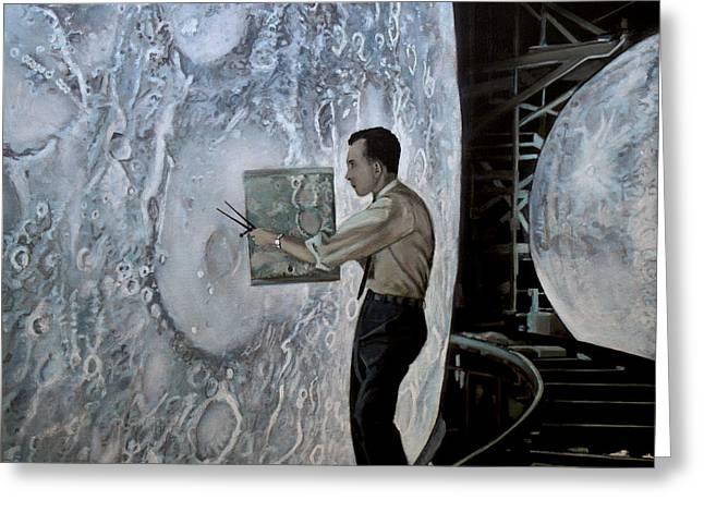 The Moon Builders - Lunar Orbit And Let-down Approach Simulator.  Greeting Card by Simon Kregar