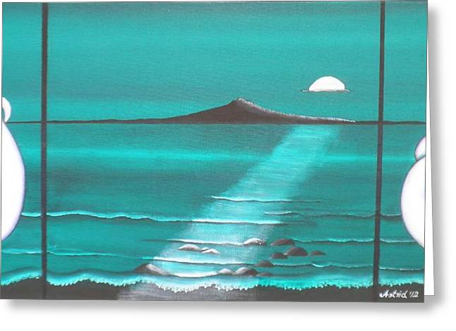 The Moon Over Rangitoto Greeting Card by Astrid Rosemergy
