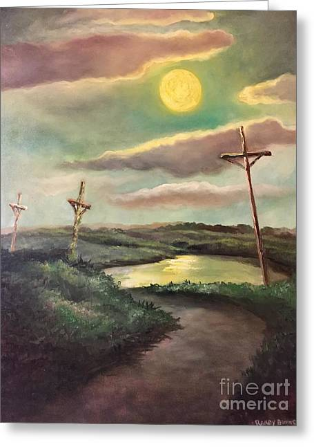 The Moon With Three Crosses Greeting Card by Randy Burns