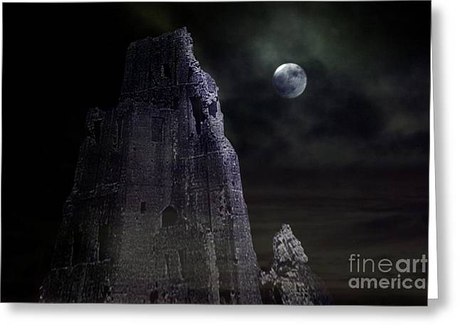 The Moonshine On The Castle Greeting Card by Terri Waters