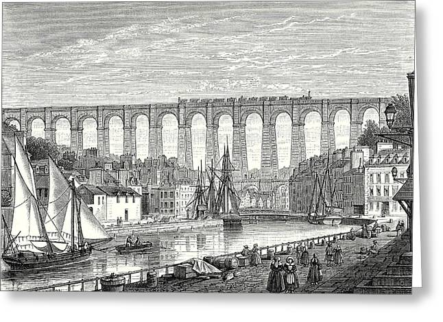 The Morlaix Viaduct On The Paris To Brest Railway Line Greeting Card by English School