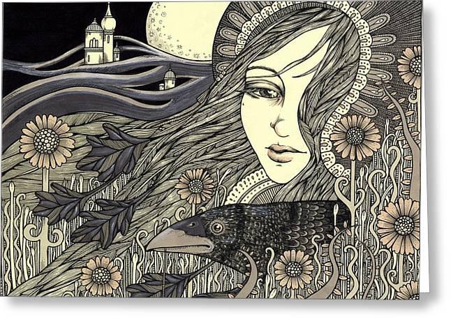 The Morrigan Greeting Card by Anita Inverarity