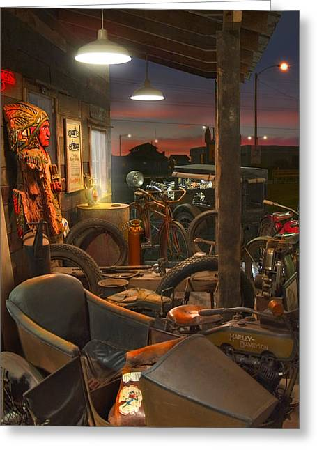 The Motorcycle Shop 2 Greeting Card by Mike McGlothlen
