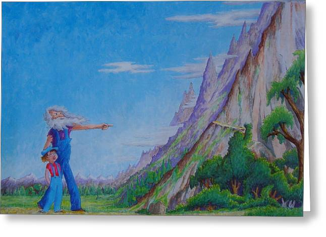 Greeting Card featuring the painting The Mountain by Matt Konar