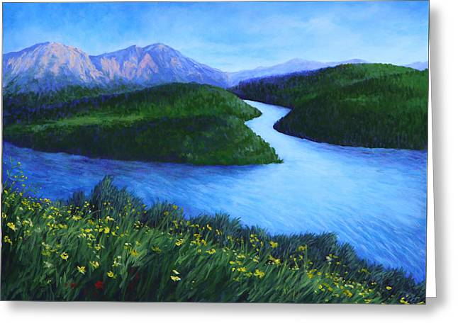Greeting Card featuring the painting The Mountains Beyond by Penny Birch-Williams