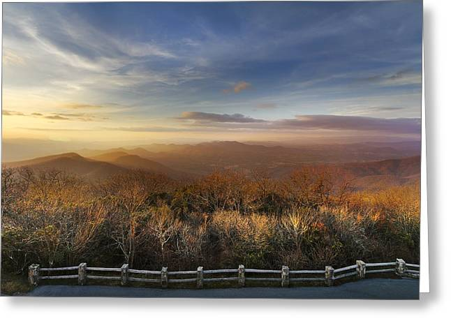 The Mountains Of Brasstown Bald Greeting Card by Debra and Dave Vanderlaan