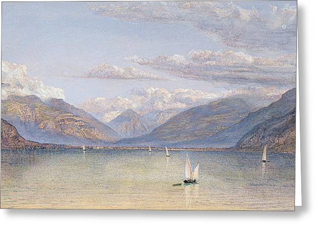 The Mountains Of St Gingolph Greeting Card by John Brett