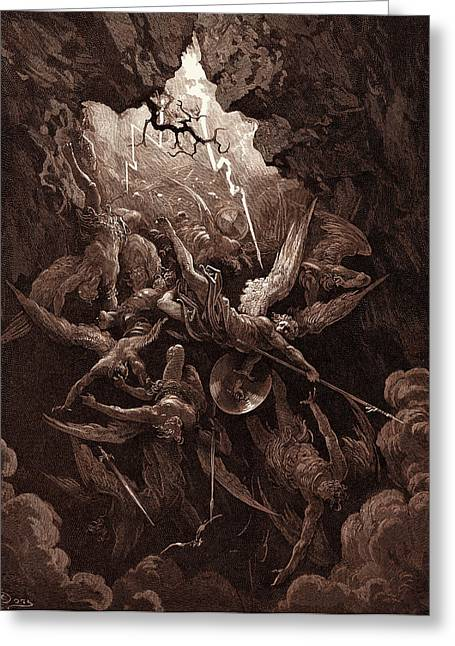 The Mouth Of Hell, By Gustave Dore, 1832 - 1883 Greeting Card