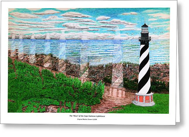 The Move Of The Cape Hatteras Lighthouse Greeting Card by Frank Evans