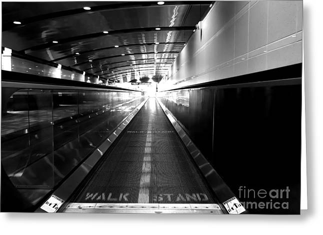 The Moving Walkway Greeting Card by Bob Mintie