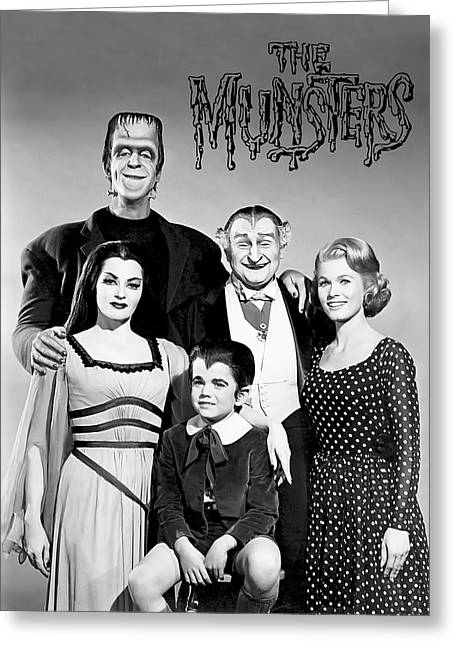 The Munsters Family Greeting Card by Daniel Hagerman