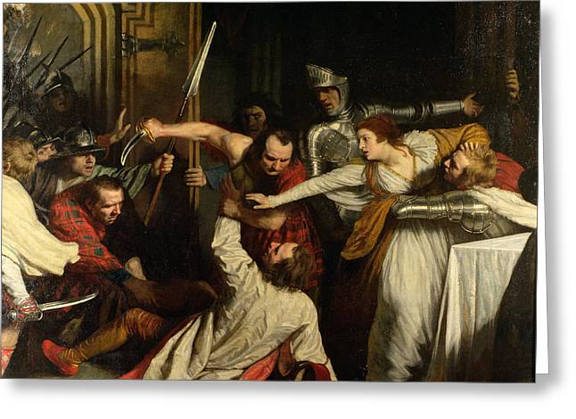 The Murder Of Rizzio, 1787 Oil On Canvas Greeting Card by John Opie