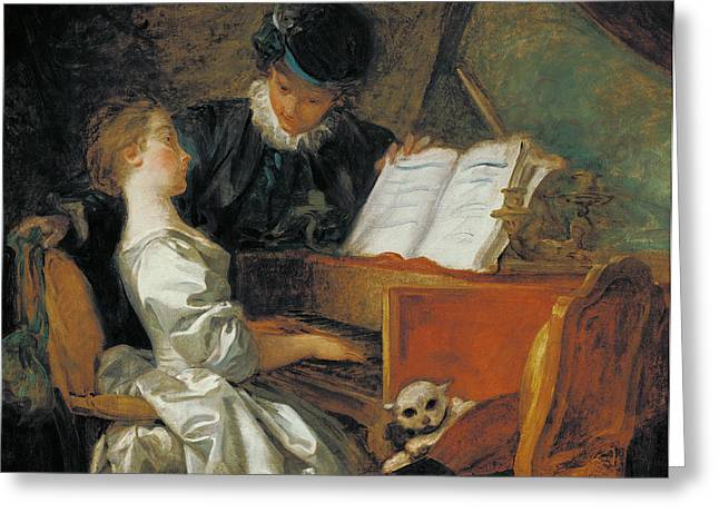 The Music Lesson Oil On Canvas Greeting Card by Jean-Honore Fragonard