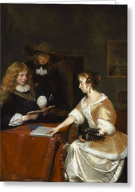 The Music Party, C.1668-70 Oil On Panel Greeting Card by Gerard ter Borch or Terborch