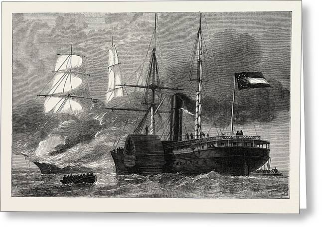 The Nashville Destroying A Federal Merchantman Greeting Card