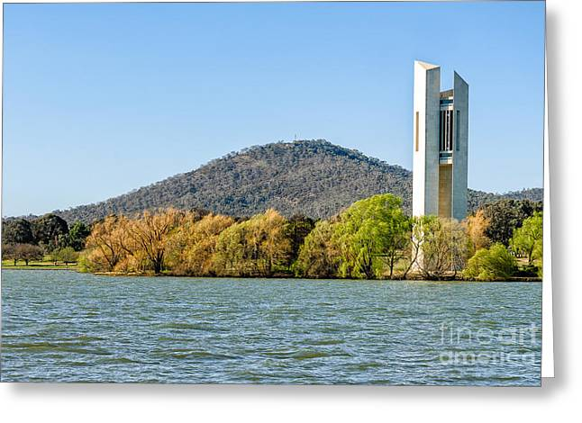 The National Carillon And Lake Burley Griffin - Canberra - Australia Greeting Card by David Hill