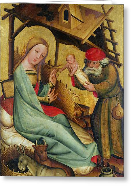 The Nativity From The High Altar Of St. Peters In Hamburg, The Grabower Altar, 1383 Tempera On Panel Greeting Card