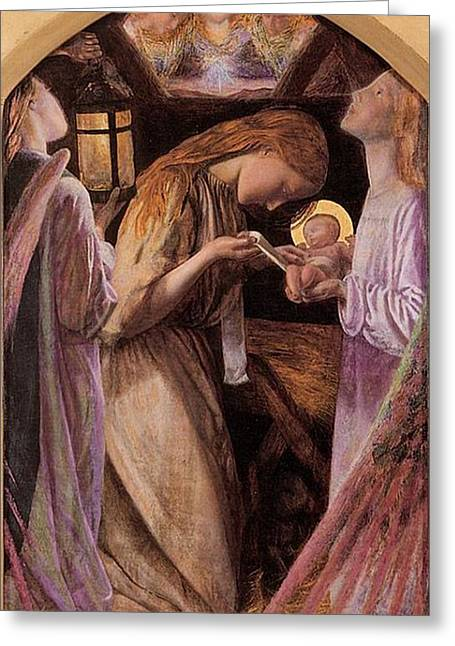 The Nativity With Angel Greeting Card by Arthur Hughes