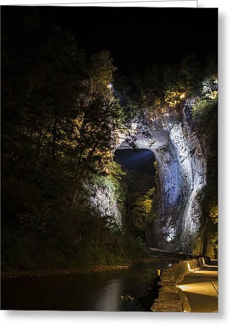 The Natural Bridge At Night  Greeting Card
