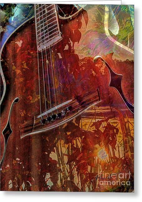 The Nature Of Music Digital Guitar Art By Steven Langston Greeting Card by Steven Lebron Langston