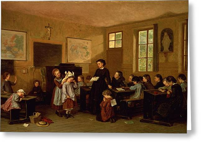 The Naughty School Children Greeting Card by Theophile Emmanuel Duverger
