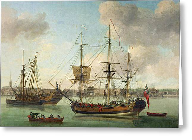 The Naval Dockyard At Deptford Greeting Card by Samuel Scott