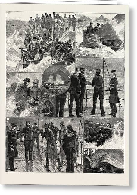 The Naval Manoeuvres Experiences Of A Trip To Shore Greeting Card by English School