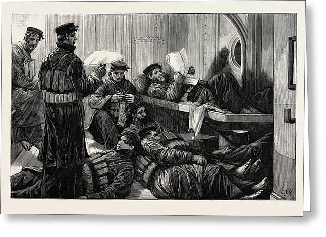 The Naval Manoeuvres The Lifeboat Crew On Night Watch Greeting Card by English School