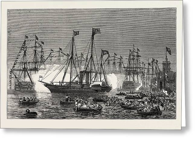 The Naval Review At Spithead The Shah In The Royal Yacht Greeting Card