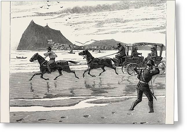 The Navy Cup At Gibraltar, Returning Home Across The Sands Greeting Card