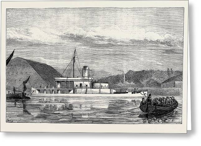 The Navy, H.m.s. Glatton The Vessel Off Chatham Dockyard Greeting Card by English School