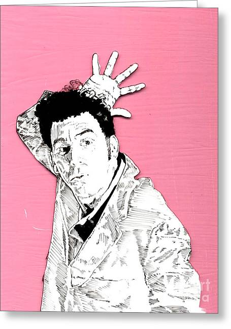 The Neighbor On Pink Greeting Card by Jason Tricktop Matthews