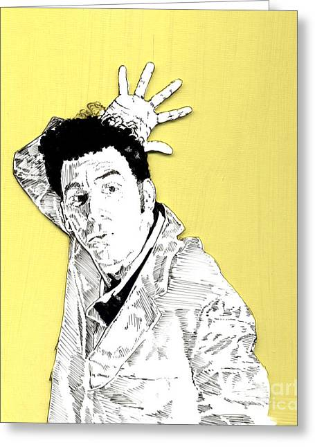 Greeting Card featuring the mixed media The Neighbor On Yellow by Jason Tricktop Matthews