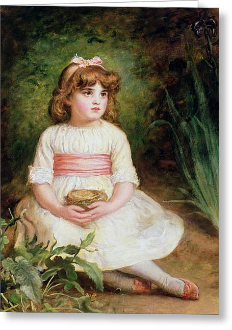 The Nest Oil On Canvas Greeting Card by Sir John Everett Millais