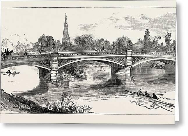 The New Bridge Bedford, Engraving 1884, Uk, Britain Greeting Card by English School