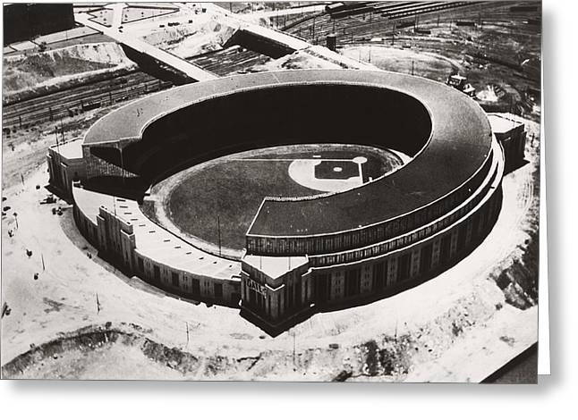 The New Cleveland Stadium Greeting Card by Underwood Archives