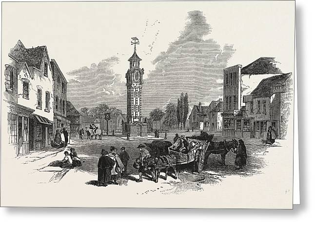 The New Clock Tower, At Epsom, Uk Greeting Card by English School