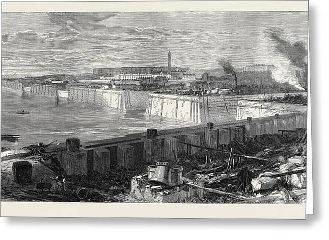 The New Docks And Repairing Basin At Chatham 1871 Greeting Card by English School