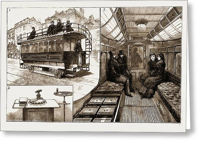 The New Electric Tramcar At Kew Bridge, London Greeting Card by Litz Collection