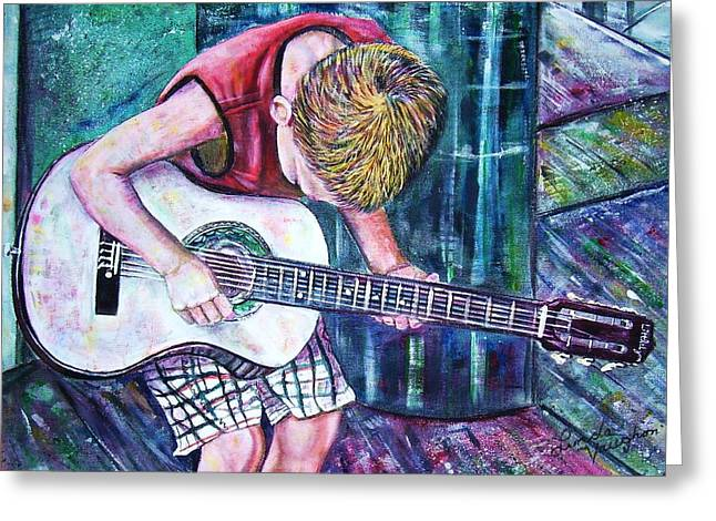 The New Guitar Greeting Card by Linda Vaughon