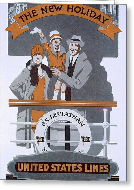 The New Holiday, Vintage Travel Poster Greeting Card