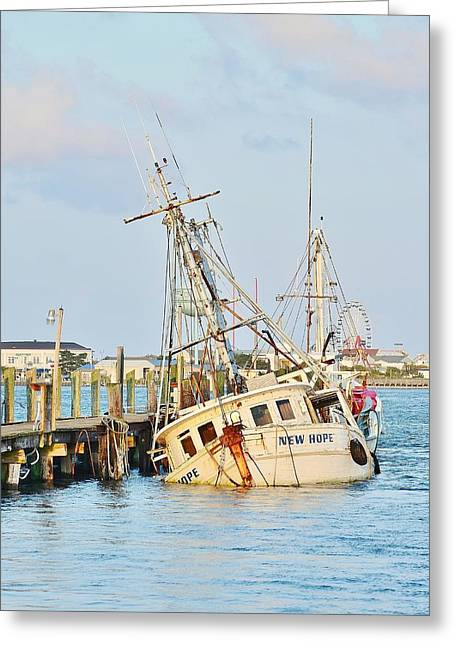 The New Hope Sunken Ship - Ocean City Maryland Greeting Card by Kim Bemis