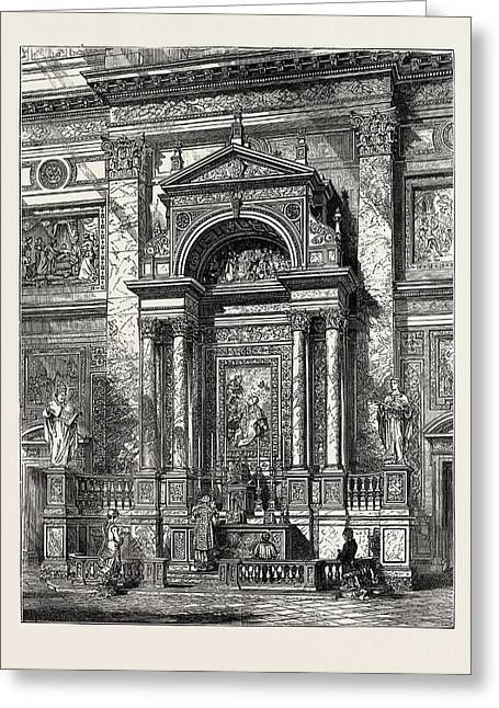 The New Oratory Church At Brompton The Altar Of St Greeting Card by English School