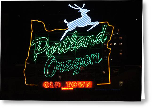 The New Portland Oregon Sign At Night Greeting Card by DerekTXFactor Creative
