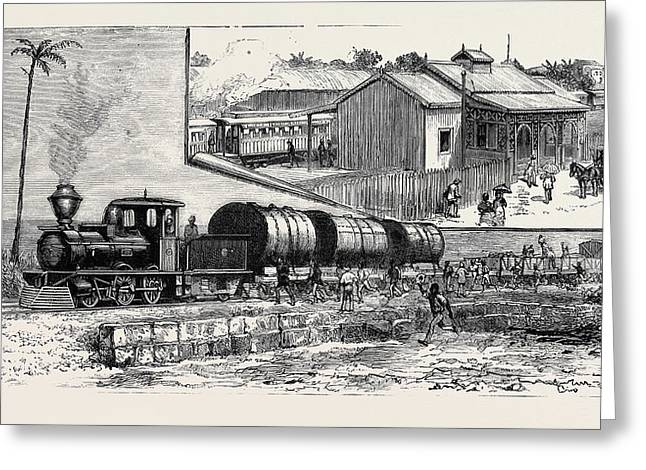 The New Railway At Barbadoes Greeting Card by English School